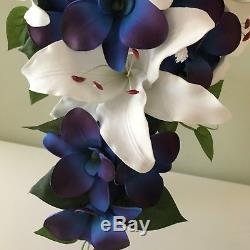 Silk Flower Wedding Bouquets White Lily Purple blue Orchid Bride Babies Breath