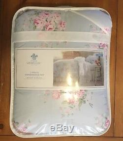 Simply Shabby Chic Bella Blue & Pink Floral 2Pc TWIN Comforter Set NEW