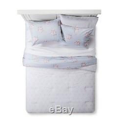 Simply Shabby Chic Blue White Pink Rose Floral Comforter Set King