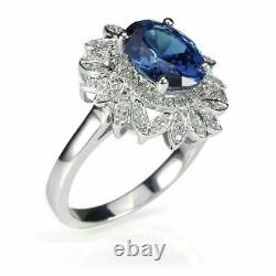 Solitaire Engagement Wedding Flower Ring 2.3Ct Blue Oval Sapphire 14K White Gold