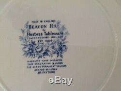 Staffordshire Beacon Hill China Set 75 Pieces, Blue & White Flowers Ironstone