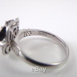 Sterling Silver Blue White Diamond 3D Flower 0.50ctw Ring Size 10 LDH4