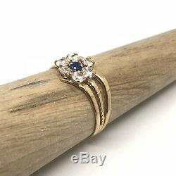 Stunning Vintage 18ct Gold Blue White Spinel Flower Ring Circa. 1960 Size T