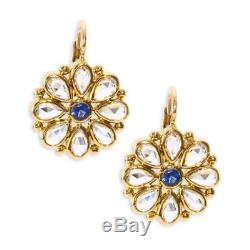 Temple St. Clair 18K Small Flower Earrings with Rose Cut White & Blue Sapphires