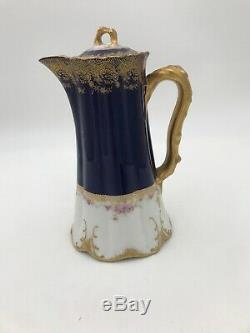 Theodore Haviland Limoges France Pitcher Blue/white Pink Flowers Gold
