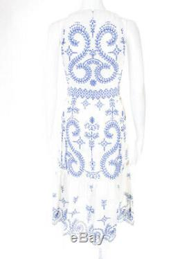 Tory Burch Womens Cotton Eyelet Floral Mariana Dress Blue White Size 2 10641742