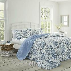 Twin Full Queen King Bed Blue White Floral Toile 3 pc Cotton Quilt Coverlet Set