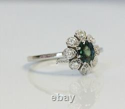 Unique 14K White Gold Natural Unheated Teal Sapphire and Diamonds Flower Ring