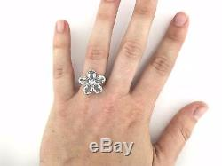 VINTAGE Tiffany & Co. 18k 750 White Gold Flower Ring with Blue Topaz and Diamond