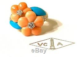 Van Cleef & Arpels 18k Yellow Gold Diamond Coral Turquoise Flower Ring