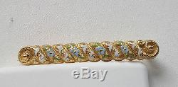 Victorian Gold Filled For-get-me-not Bar Pin With Enamel Flowers-blue & White