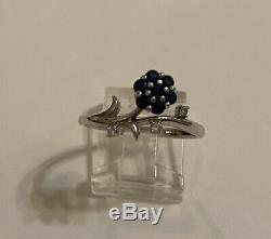 Vintage 10K White Gold Blue Sapphire & Diamond Flower Floral Ring