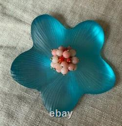Vintage Alexis Bittar Blue Lucite Flower Pin Brooch White & Coral Beads
