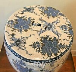 Vintage Asian Porcelain Blue and White Floral Garden Stool Accent Side Table 18