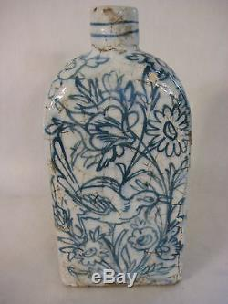 Vintage Birds & Flowers Hand Painted Blue & White Chinese Triangle Shape Bottle