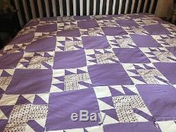 Vintage Blue & White Quilt 104 x 76 Hearts and Petunia Flowers King Bedspread