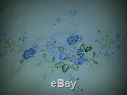 Vintage Cotton Queen Size Duvet Cover Hand Embroidered With Blue Flowers