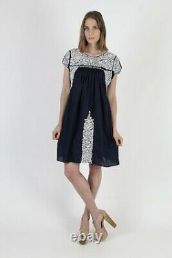 Vintage Hand Embroidered Oaxacan Dress All White Floral Mexican Navy Cotton Mini
