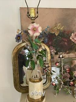 Vintage Italian Tole Lamp W Mixed Flowers 25H Excellent Pink Blue White