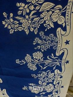 Vintage MID Century 48 State And Their State Flower Royal Blue & White 52 By 54