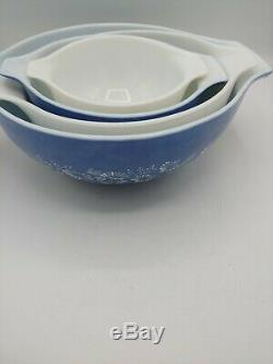 Vintage Pyrex Colonial Mist Blue White Flowers Cinderella Mixing Bowls set of 4