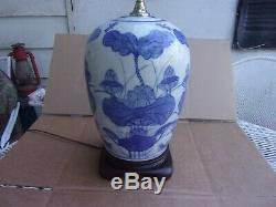 Vintage Real Ginger Jar Lamp White With Blue Dragonflies And Flowers