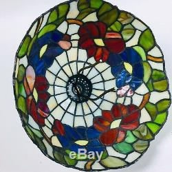 Vintage Stained Glass Leaded Tiffany Style Table Shade Floral Red/Blue/White12