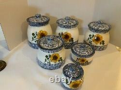 Vintage Sunflower 6 pc Canister Containers Blue & White speckled sponged