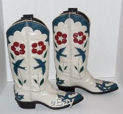 Vintage Womens 6.5M ACME Cowboy Boots Red White Blue Bird Flowers, Gene Autry