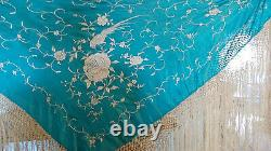 Vtg. Blue Chinese Silk Piano Scarf/shawl White Embroidered Flowers Pheasant