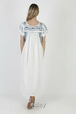 Vtg Oaxacan Dress Mexican Blue Crochet Lace Floral Hand Embroidered Caftan Maxi