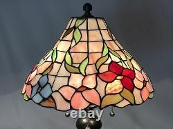Vtg Stained Glass Lamp Shade Floral Pink Red Blue Victorian Tiffany Style 14