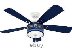 White Blue 48 Space Science Planets Boys Room Ceiling Fan Dimmable LED Light