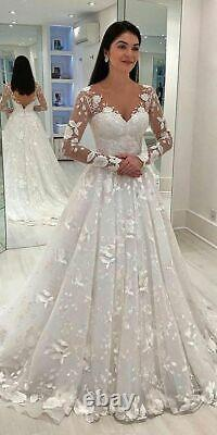 White Ivory Wedding Dresses Lace Appliques Flower Long Sleeve V-neck Bridal Gown