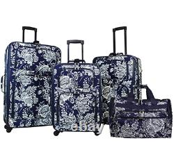 World Traveler Navy White Flowers Patterned 4-piece Luggage Expandable Spinner