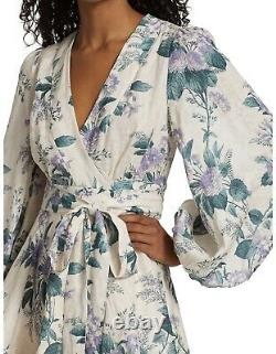 Zimmermann Cassia Floral-Print Wrap Dress Blue White And Green Size 1 Small NWT